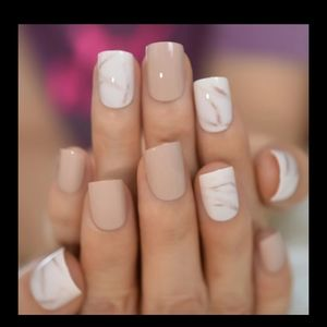 Short nude and marble press on nails